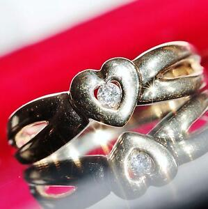 10k-yellow-gold-ring-0-10ct-diamond-heart-size-6-75-handmade-vintage-2-7gr