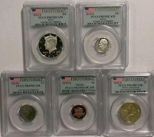 2013-S-Silver-Proof-US-Mint-5-Coin-Partial-Set-034-First-Strike-034-PCGS-PR69DCAM-RARE