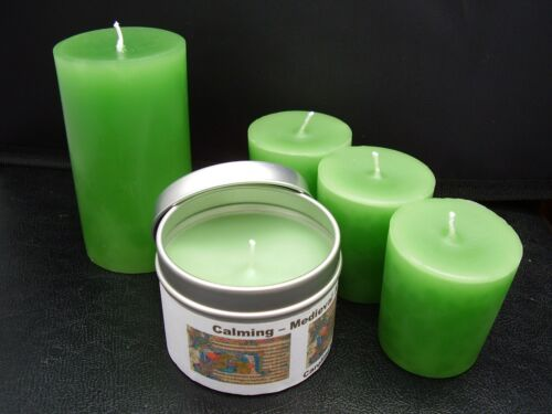 Handmade Calming medieval aromatherapy green candle votive pillar or container