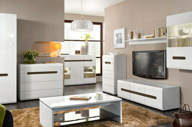 Living dining room furniture cabinet cupboard shelf Tv unit stand display white