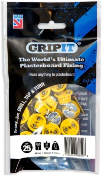 GRIP IT Yellow Blue Plasterboard Fixings PACK OF 25 FREE DRILL BIT Red Brown