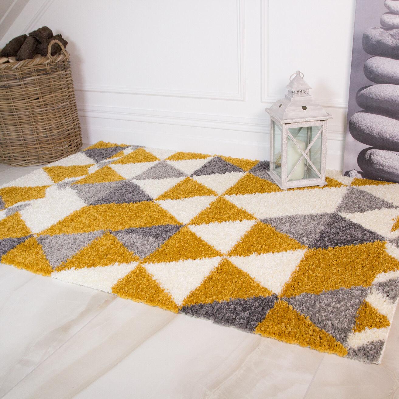 GIALLO OCRA geometrico Tappeto Shaggy Morbido Moderno non capannone spessa salotto Rugs UK