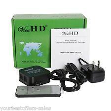 ViewHD Spdif Toslink Digital Optical Audio Converter Audio Switcher Remote New