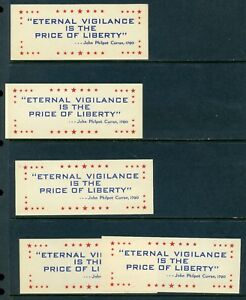 Details About 5 Vintage Eternal Vigilance Is The Price Of Liberty Poster Stamps America L576