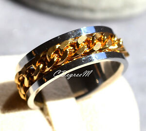 1701b55882f0a Details about Stainless Steel Large Chain Thumb Ring Wedding Band Men Women  Silver Gold