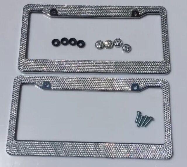 2018 New Multi Color Crystal Diamond Bling Rhinestone Metal License Plate Frame