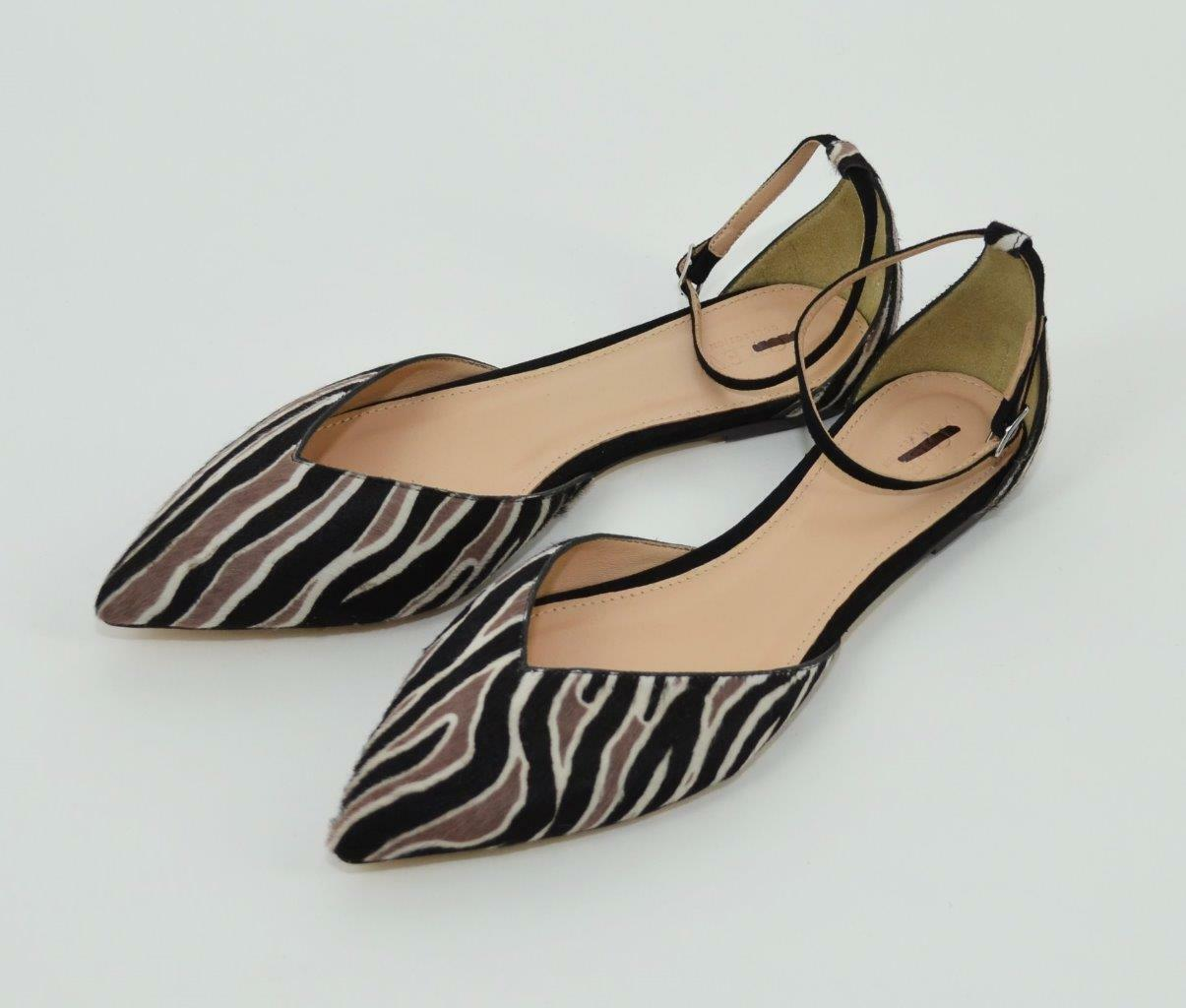 J.CREW COLLECTION $198 SADIE ZEBRA CALF HAIR ANKLE STRAP FLATS 10 BLACK F7988