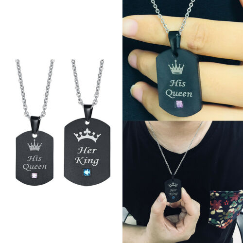 Stainless Steel His Queen Her King Dog Tag Couple Pendant Puzzle Necklace