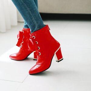 Kurz-Stiefel-Blockabsatz-Damenschuhe-Stiefeletten-Lackleder-Sexy-Stiefeltten