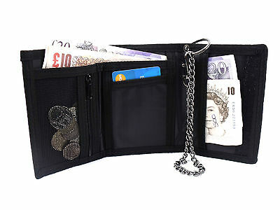 MENS LADIES TRIFOLD SPORTS WALLET CHAIN CREDIT CARD HOLDER COIN POUCH