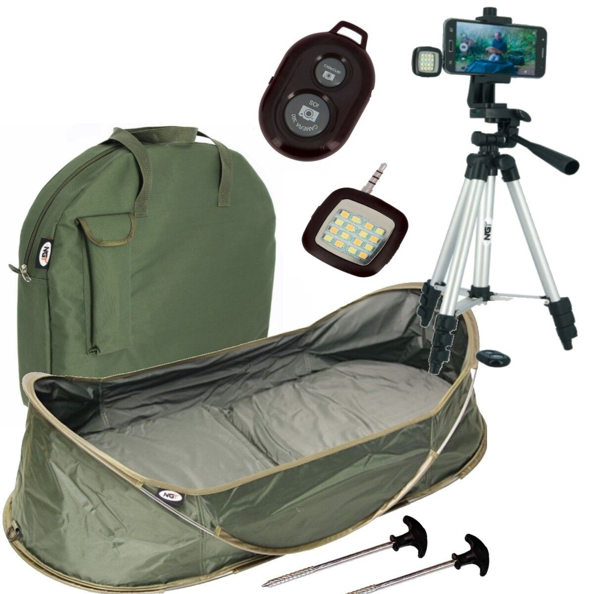 NGT Carpa Culla Pop Up dello sgancio mat e pesca Foto Selfie Camera Tripod
