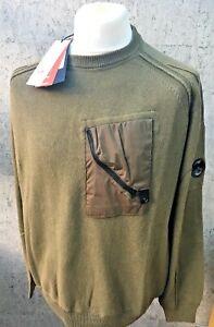 C.P. Company Lentille à encolure ras-du-Cou Coton Fermeture Éclair Pull Neuf Avec étiquettes RRP £ 265 -