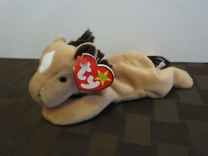 Ty Beanie Babies Derby the Horse, w/ yarn hair and star, PE Pellets, Mint w/ Tag
