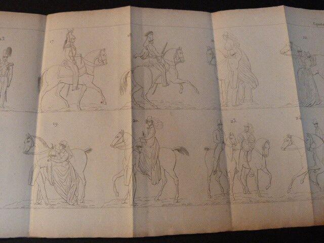 VERGNAUD Nouveau Manuel complet d'Equitation CHEVAL Manège RORET 3 PLANCHES 1860