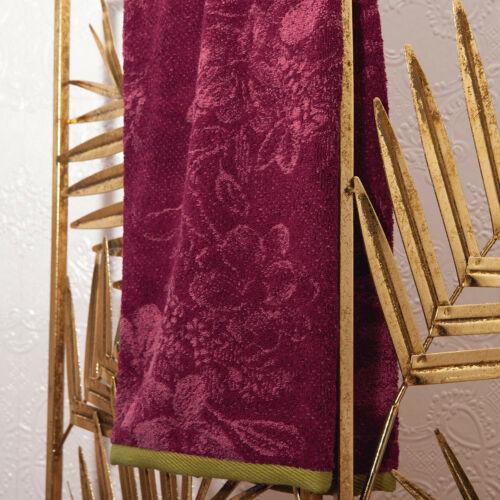 LEONOR BY YVES DELORME FRANCE FLORAL DESIGN MEGANTA COLOR COTTON TOWEL