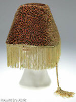 Lamp Shade Hat Leopard Print Gold Fringed With Cord Funny Unique Novelty Hat
