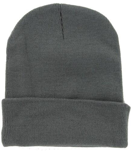 3x Plain Beanie Ski Cap Hat Skull Knit Winter Cuff Pick Your Color Mens /& Womens