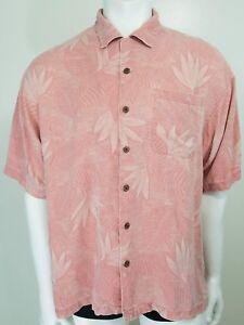Tommy-Bahama-Hawaiian-Camp-Shirt-Mens-XL-100-Silk-Pink-Floral-Print-Button-Down