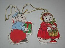 """Vintage Paper Cut Dog and Cat Christmas Ornament 3 3/4"""" Lot of 2"""