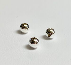 Sterling-Silver-3mm-Seamless-925-Silver-Brite-Beads-Various-Pkg-sizes