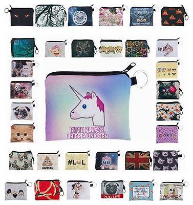 Kukubird Emoji Flower Mint Design Print Square Purse Wallets