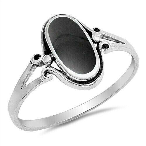 Anneau Véritable Argent Sterling 925 Noir Onyx Bijoux face hauteur 13 mm taille 8