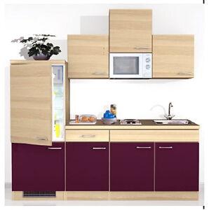 singlek che pantryk che b ro k che k hlschrank mikrowelle k chenblock 210 cm neu ebay. Black Bedroom Furniture Sets. Home Design Ideas