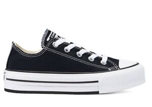 Scarpe donna Converse all star 670892C sneakers basse platform chuck tela nere
