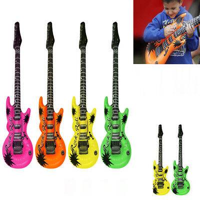 4 colours INFLATABLE BLOW UP NEON GUITARS 80/'s Fancy Dress Party Prop 106cm