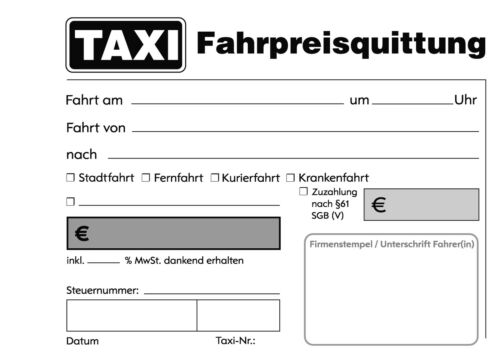 selbstdurchschreibend gelocht 50x TAXI-Fahrpreis-Quittung 2x50 Bl 22428