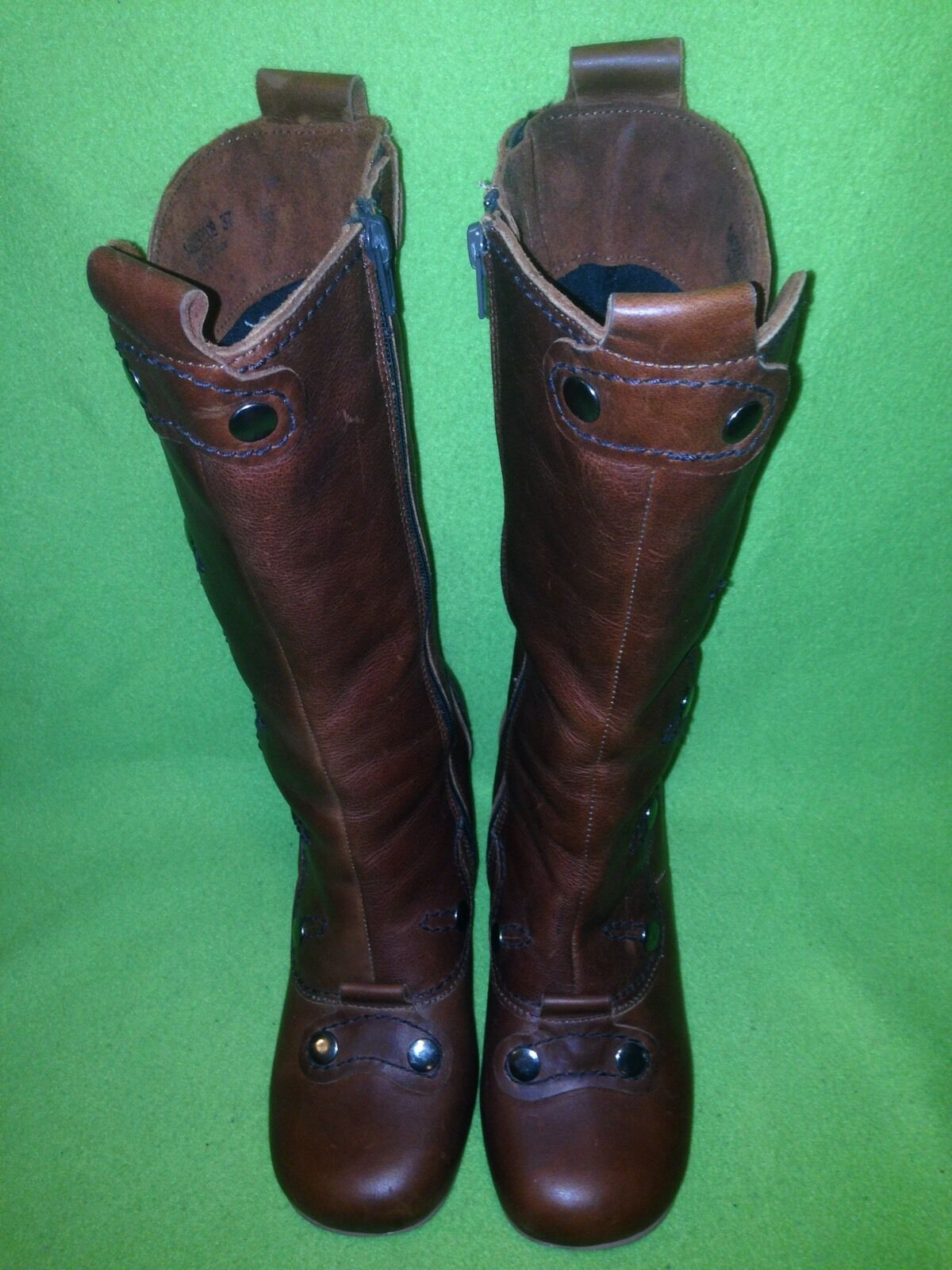 Brown Fly London Zip-Up & & & Button Snap Mid-Calf Boots 6.5 04aa0b