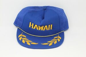 Vintage Hawaii Trucker Cap Hat Snapback Blue Mesh Gold Leaf Hawaiian