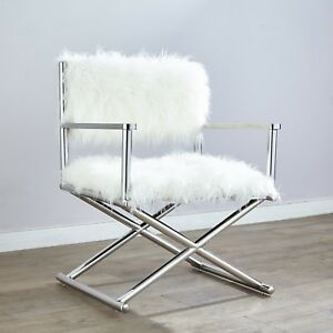Super Details About Luxury Accent Faux Fur Stainless Steel Chrome Directors Arm Chair Contemporary Inzonedesignstudio Interior Chair Design Inzonedesignstudiocom