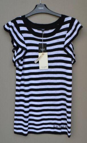 La prossima riga bianca nera lino in Maglia Sottile Maglione Top 8 10 12 NUOVO CON ETICHETTA maniche con increspatura