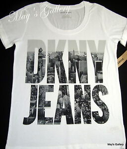 DKNY Donna Karan New York Tank T-shirt Tee Top Blouse White T Shirt ... d866cea63ff