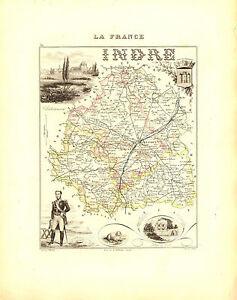 Carte du Département de l'INDRE- vers 1880. Migeon iVbegWcU-09115535-978509863
