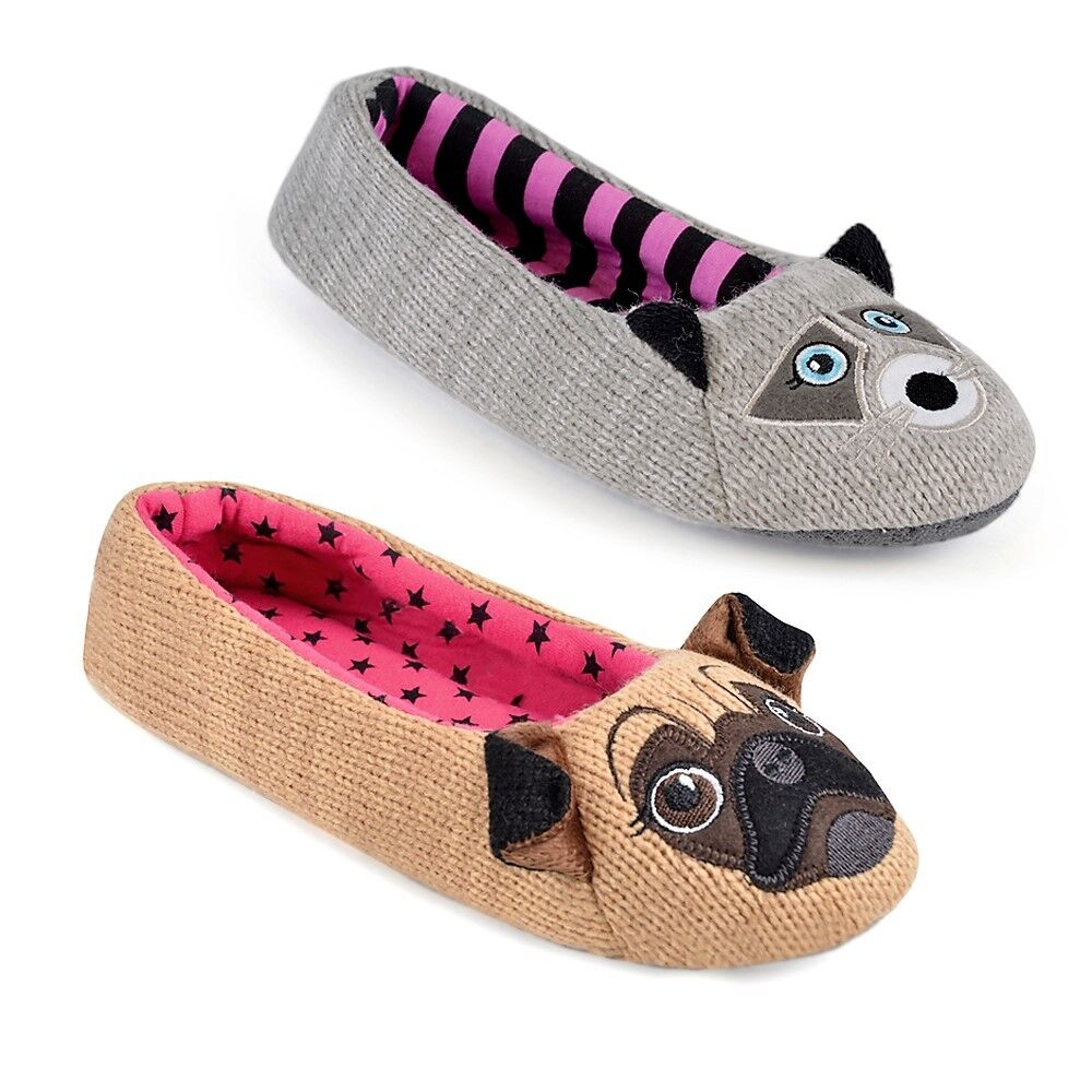 Ladies Ballet Slippers Animal Dolly Warm Comfort Cosy Winter Mules Shoes Size