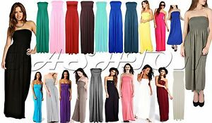 Womens-Strapless-Maxi-Dress-Ladies-Sheering-Boob-tube-Bandeau-Long-Lot-Size-8-26