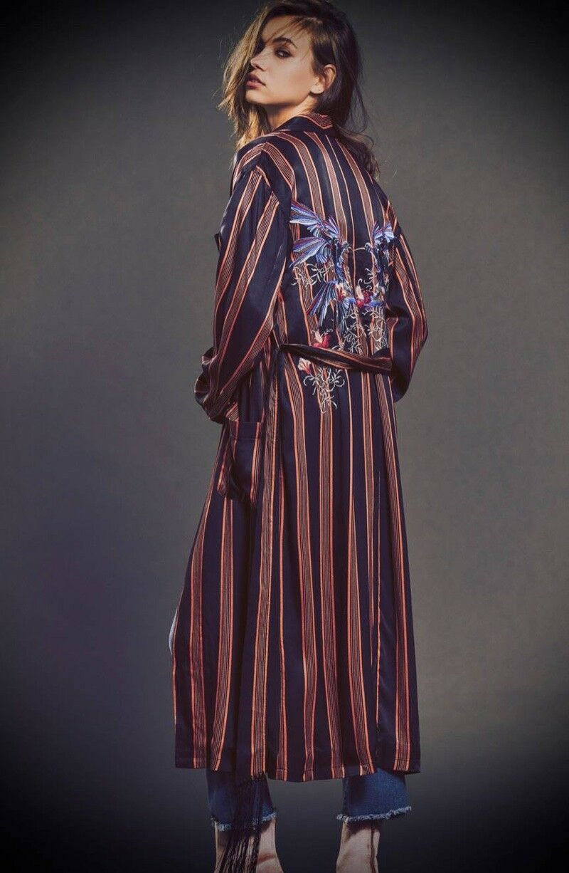 NWT FREE PEOPLE ATRIUM STRIPED EMBROIDERED DUSTER S SMALL  AUTHENTIC   SFS