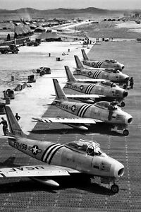 New-5x7-Korean-War-Conflict-Photo-F-86-Airplanes-Readied-for-Combat-1951