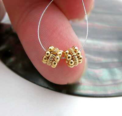 RARE INTRICATE 24K GOLD VERMEIL OVER STERLING SILVER JEWELRY BEADS *2PC PAIR