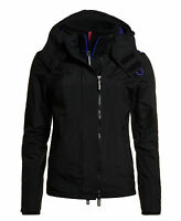 New Womens Superdry Pop Zip Hooded Arctic Windcheater Black
