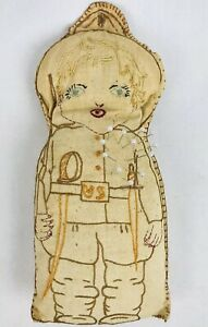 Primitive-WWI-US-Soldier-Doughboy-Pin-Cushion-Doll-Antique-Rag-Filled-Handmade