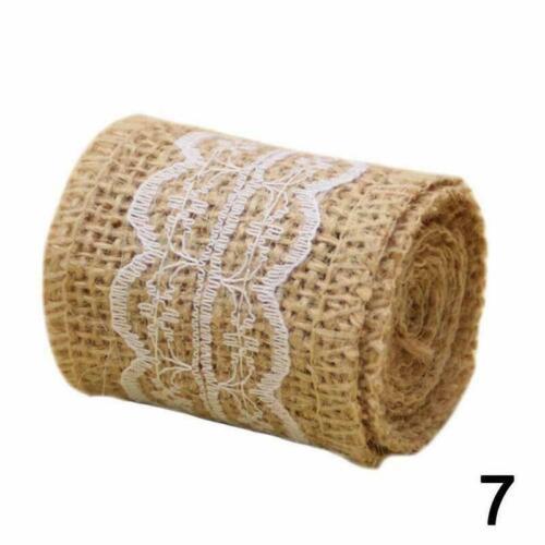 1Roll Jute Burlap Natural Hessian Ribbon Trim Edge Wedding Rustic Sell H1J7