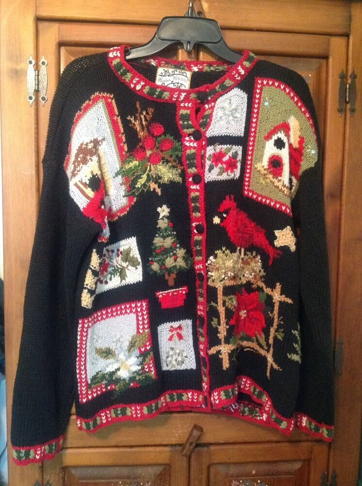 HEIRLOOM COLLECTIBLES Button Up UGLY CHRISTMAS SWEATER Size Medium