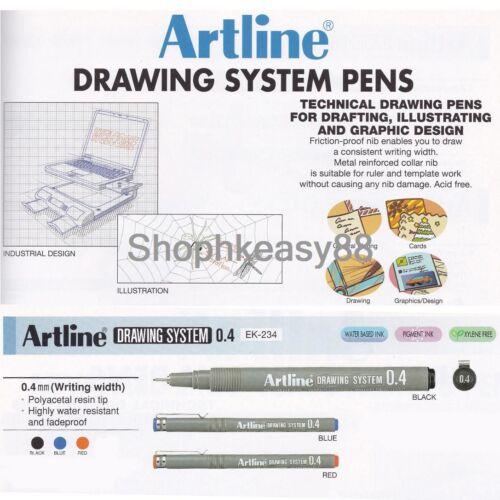 12x Artline EK-234 Technical Drawing System Pens 0.4mm Choose Color