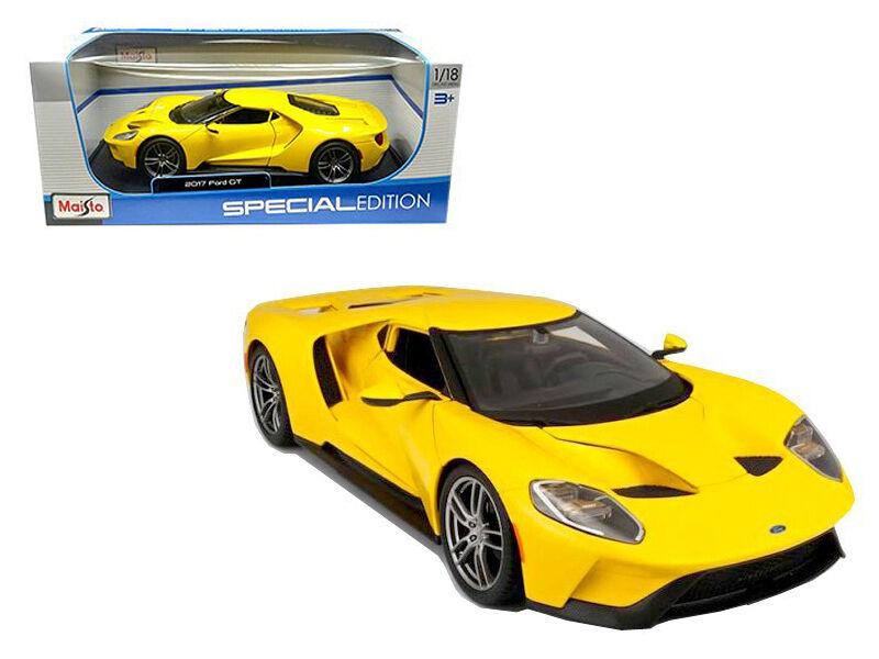 2017 ford gt supercar gelbe 1,18 - skala ein diecast modell - 31384y