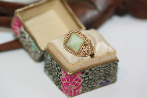 Rare-Chinese-Filigree-Men-039-s-Women-039-s-Pyramid-Jade-14K-Gold-Ring-Sz-6-Antique-Box
