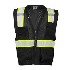 ML Kishigo B100 Enhanced Visibility Multi Pocket Black Mesh Vest