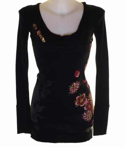New Women/'s Ed Hardy Long T Shirt Top Short Mini Dress Black Ribbed Stretch